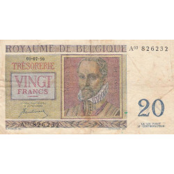 Belgique - Pick 132a - 20 francs - Etat : TB