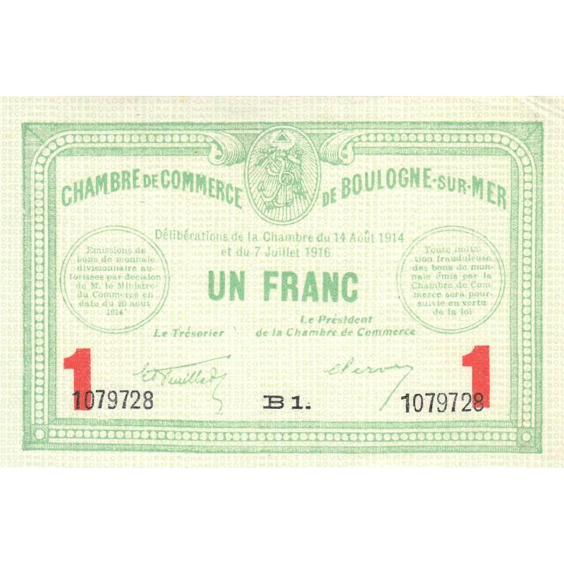 Boulogne-sur-Mer - Pirot 31-19b - 1 franc - Etat : SUP+