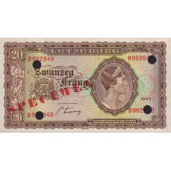 Luxembourg - Pick 42s - 20 francs - 1943 - Spécimen - Etat : pr.NEUF