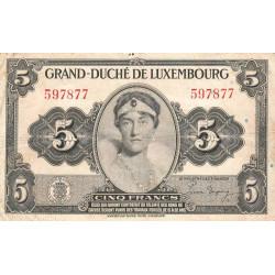 Luxembourg - Pick 43a - 5 francs - 1944 - Etat : TB+