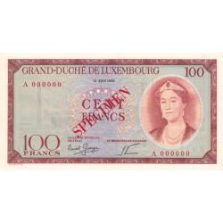 Luxembourg - Pick 50s - 100 francs - 1956 - Spécimen - Etat : pr.NEUF