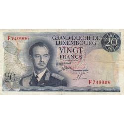 Luxembourg - Pick 54a - 20 francs - 1966 - Etat : TB