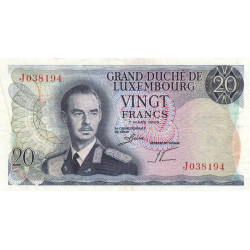 Luxembourg - Pick 54a - 20 francs - 1966 - Etat : TB+