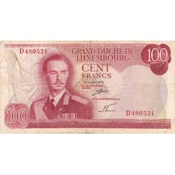 Luxembourg - Pick 56a - 100 francs - 1970 - Etat : TB-