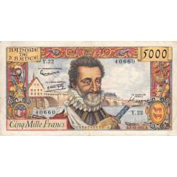 F 49-3- 03/10/1957 - 5000 francs - Henri IV - Etat : TB+