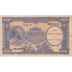Congo (Kinshasa) - Pick 2 - 1'000 francs - 15/02/1962 - Etat : TB-