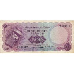 Congo (Kinshasa) - Pick 7 - 500 francs - 01/12/1961 - Etat : TB+