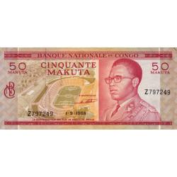 Congo (Kinshasa) - Pick 11a - 50 makuta - 01-09-1968 - Etat : SUP