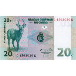 Rép. Démocr. du Congo - Pick 83 - 20 centimes - 1997 - Etat : NEUF