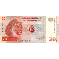 Rép. Démocr. du Congo - Pick 88Ar (remplacement) - 20 francs - 1997 -  Etat : NEUF