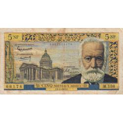 F 56-17 - 04/02/1965 - 5 nouveaux francs - Victor Hugo - Etat : B+