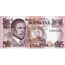 Botswana - Pick 8a - 5 pula - 1982 - Etat : NEUF
