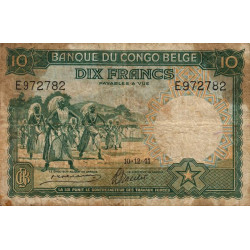 Congo Belge - Pick 14 - 10 francs - 10/12/1941 - Série E - Etat : B+