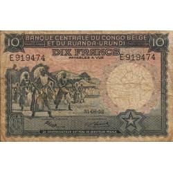 Congo Belge - Pick 22 - 10 francs - 31/08/1952 - Série E - Etat : TB-