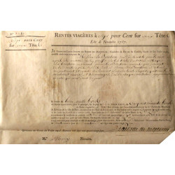 Seine - Paris - Louis XVI - Emprunt royal de 1787 - 7% sur 2 têtes - Etat : TTB-