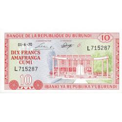 Burundi - Pick 20b- 10 francs - 1970 - Etat : NEUF