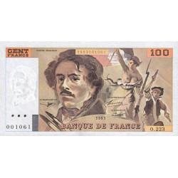 F 69/U-07 - 1993 - 100 francs - Delacroix - UNIFACE - Etat : SPL à pr.NEUF