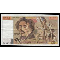 F 69-07 - 1983 - 100 francs - Delacroix - Variété découpe inclinée - Etat : TTB