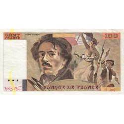 F 69-10 - 1986 - 100 francs - Delacroix - Variété sans numéro - Etat : TTB