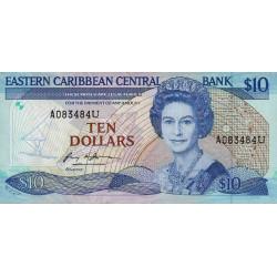 Est Caraïbes - Anguilla - Pick 23u - 10 dollars - 1984 - Etat : SUP+