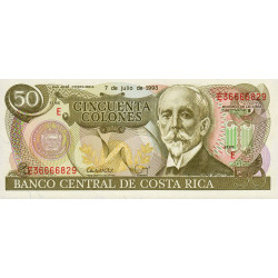 Costa Rica - Pick 257 - 50 colones - 1993 - Etat : NEUF