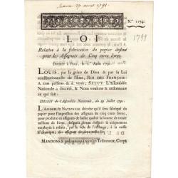 Assignat - Décret du 29 juillet 1791