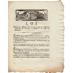 Assignat - Décret du 30 novembre 1791