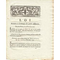 Assignat - Décret du 19 décembre 1791