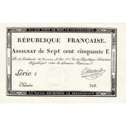 Assignat 49a - 750 francs - 18 nivôse an 3 - Etat : SPL+