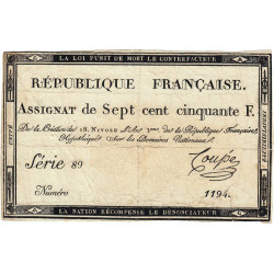 Assignat 49a - 750 francs - 18 nivôse an 3 - Etat : TB+ à TTB
