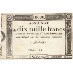 Assignat 52a - 10000 francs - 18 nivôse an 3 - Etat : SUP+