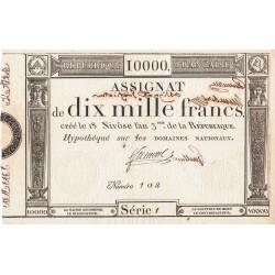 Assignat vérificateur 52v - 10000 francs - 18 nivôse an 3 - Etat : SUP+