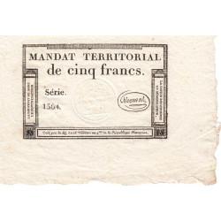 Mandat territorial 63a - 5 francs - 28 ventôse an 4 - Etat : SPL
