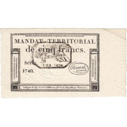 Mandat territorial 63b - 5 francs - 28 ventôse an 4 - Etat : SPL