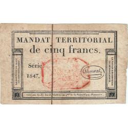 Mandat territorial 63c - 5 francs - 28 ventôse an 4 - Etat : TB+