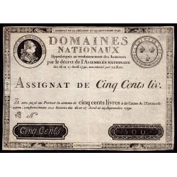 Assignat 10f-03 - Faux 500 livres - 29 septembre 1790 - Etat : SUP