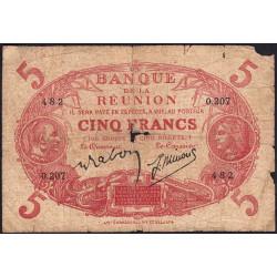 La Réunion - Pick 14-9 - 5 francs - 1944 - Etat : B-