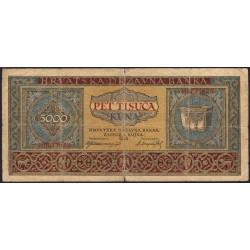 Croatie - Pick 13 - 5'000 kuna - 1943 - Etat : TB-