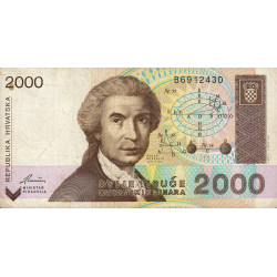 Croatie - Pick 23 - 2'000 dinars - 1992 - Etat : TB+