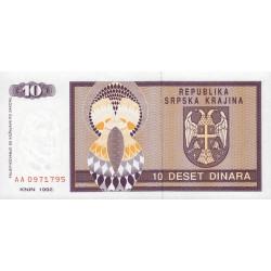 Krajina - Pick R1 - 10 dinars - 1992 - Etat : NEUF