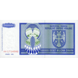 Krajina - Pick R12 - 10 millions de dinars - 1993 - Etat : NEUF