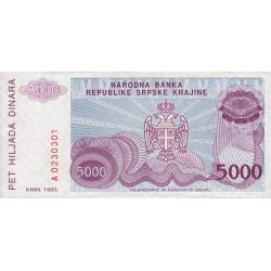 Krajina - Pick R20 - 5'000 dinars - 1993 - Etat : NEUF