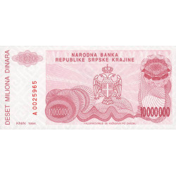 Krajina - Pick R34 - 10 millions de dinars - 1994 - Etat : NEUF