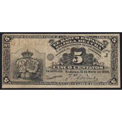 Cuba - Pick 45a - 5 centavos - 1896 - Etat : TTB