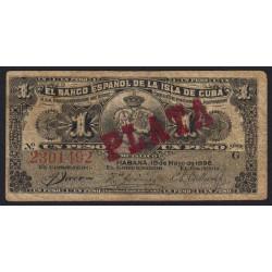 Cuba - Pick 47b - 1 peso - 1896 - Etat : TB