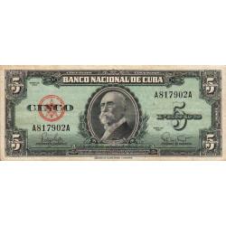Cuba - Pick 92 - 5 pesos - 1960 - Etat : TB+
