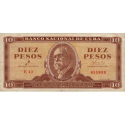 Cuba - Pick 96a - 10 pesos - 1961 - Etat : TTB
