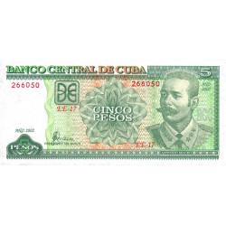 Cuba - Pick 116e - 5 pesos - 2002 - Etat : NEUF