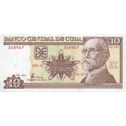 Cuba - Pick 117d - 10 pesos - 2001 - Etat : NEUF