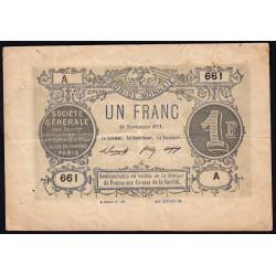 Paris - Société Générale - 1 franc - 18 novembre 1871 - Etat : TTB